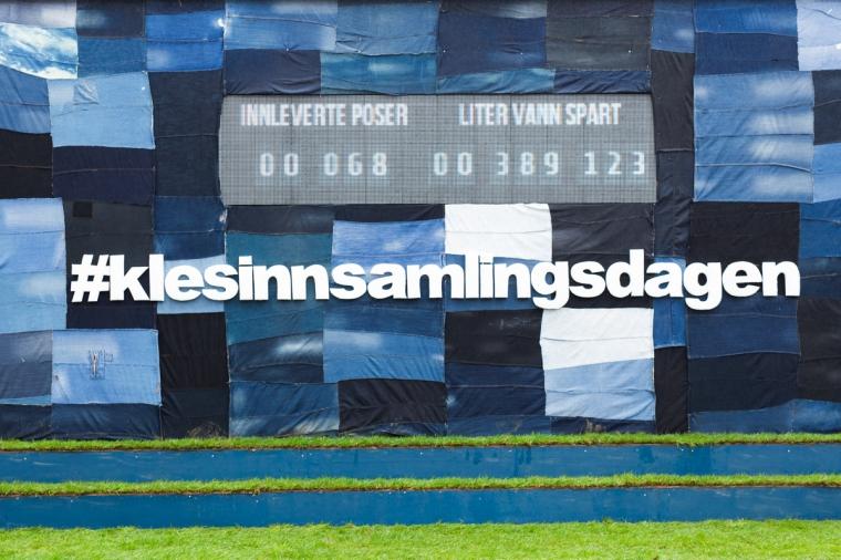 Landets største innsamlingsboks på Jernbanetorget.