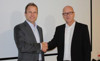Konsernsjefene i hhv Norsk Gjenvinning (Erik Osmundsen), t.v., og Coop (Geir Inge Stokke) , 7.11.2016.
